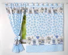 BabyLux 'Eule' Vorhänge mit Schlaufen, blau