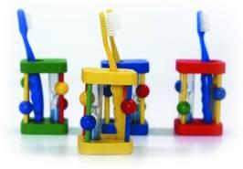 Zahnbürstenhalter mit Sanduhr, L/B/H 250X250X10 mm, farblich sortiert, zufällige Farbauswahl