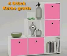 FMD Möbel Stauraumregal weiß inkl. 4 Körbe pink