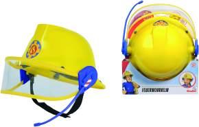 Simba 109258698 - Feuerwehrmann Sam Helm, Feuerwehrhelm, gelb, mit Mikrofon, Größeneinstellung möglich, D:23cm, für Kinder ab 3 Jahren