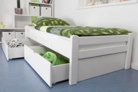 Einzelbett/GästebettEasy Premium Line K1/1n inkl 2 Schubladen und 2 Abdeckblenden, 90 x 200 cm Buche Vollholz massiv weiß lackiert