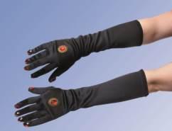 Satin-Handschuhe m. Schmuckapplikation,