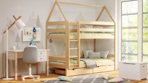 Kinderbettenwelt 'Home' Etagenbett 90x190 cm, natur, Kiefer massiv, mit Lattenrosten
