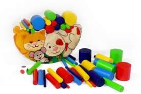 Holzspielzeug Balancespiel Katze & Hund BxLxH 170x65x120mm NEU