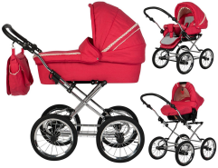 Friedrich Hugo - Natureline Uni - 3 in 1 Kombi Kinderwagen Komplettset - Öko Nostalgie Kinderwagen - Farbe: Hugo Strawberry Silver