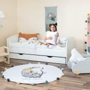 Alcube 'Oskar' Kinderbett 80x180 cm mit Rausfallschutz, Lattenrost, Matratze und Schublade, weiß