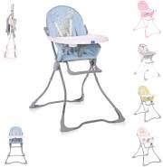 Lorelli Kinderhochstuhl Marcel, klappbar, Bechervertiefung, abwaschbarer Stoff grau-blau