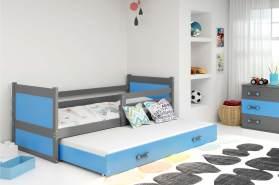 Stylefy Lora mit Extrabett Funktionsbett 80x190 cm Graphit Blau
