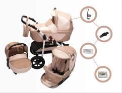 Jackmar Jacky | Luftreifen in Schwarz | 3 in 1 Kinderwagen Set | Farbe: Cappuccino & Beige