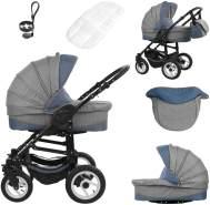 Bebebi Florenz | Luftreifen in Weiß | 3 in 1 Kombi Kinderwagen | Farbe: Da Vinci Blue Black