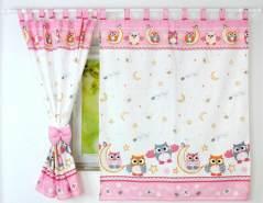 BabyLux 'Eule' Vorhänge mit Schlaufen, pink
