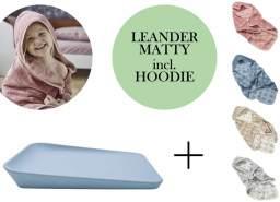 Leander Matty Wickelauflage + Hoodie Kapuzenhandtuch Pale Blue Cool Grey