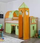 Relita 'Alex' Halbhochbett natur, inkl. Matratze und großes Stoffset 'Grün/Orange'