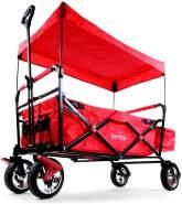FUXTEC 'FX-CT500' Bollerwagen in Rot, inkl. Sonnendach, Hecktasche und Feststellbremse, klappbar