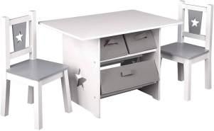 WOLTU Kindersitzgruppe mit 3 Aufbewahrungskörben, Holz, Weiß-Grau