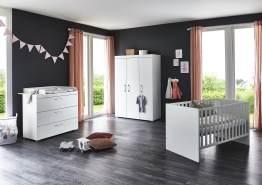 Arthur Berndt 'Liene' Babyzimmer Komplettset 3-teilig, Kinderbett (70 x 140 cm), Wickelkommode mit Wickelaufsatz und Kleiderschrank MDF Weiß Strasssteine