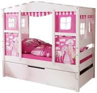 Ticaa 'Horse Pink' Hausbett Mini weiß inkl. Bettkasten 'Marianne'