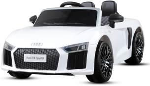 Kidcars 'Audi R8 Spyder' Lizenz Kinder Elektroauto, 2x 35W, 2x 6V(12V), 2.4GHz, RC, EVA Softreifen, weiß