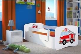 Kocot Kids 'Feuerwehr' Einzelbett weiß 70x140 cm inkl. Rausfallschutz, Matratze, Schublade und Lattenrost