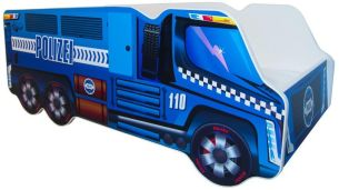Alcube 'Polizei' Autobett 140 x 70 cm inkl. Lattenrost und Matratze, blau