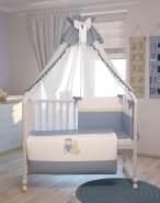 Polini Kids 7-tlg Baby-Bettwäschenset 'My Toys' blau 120x60