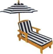 KidKraft Gartenmöbelset, Liegestuhl mit Sonnenschirm, blau weiß gestreift