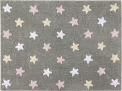 Lorena Canals Kinderteppich Grau Sterne Tricolor 120 x 160 cm