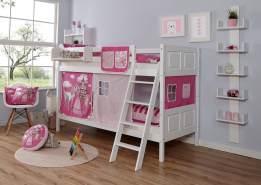 Ticaa 'Erni' Etagenbett Country Buche Weiß, 90 x 200 cm, Vorhang Horse-Pink (Ausführung 1)