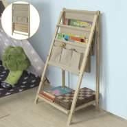 SoBuy Kinder-Bücherregal mit 3 Ablagefächern und 3 Taschen klappbar