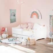 Prinzessin Bett KLARA Kinderbett für Mädchen 80x160 cm Weiß mit Matratze, Bettkasten und Rausfallschutz