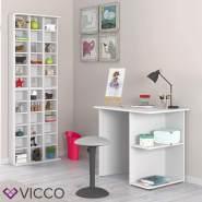 Vicco 'Simple' Schreibtisch, Weiß, mit 2 Fächern