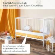 """Mitwachsendes Babybett """"Emmi"""" 120x60 cm zum Kinderbett umbaubar, Kiefer, mit Schlupfsprossen, ohne Schublade, in weiß"""