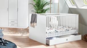 Babybett KIEL Kinderbett weiß mit Schlupfsprossen 70x140, ohne Bettschublade
