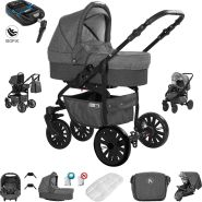 Friedrich Hugo Berlin | 4 in 1 Kombi Kinderwagen + ISOFIX| Luftreifen | Farbe: Dark Grey and Grey Night