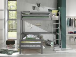 Vipack Winkel Hochbett mit 2 Liegeflächen 90 x 200 cm, Ausf. grau lackiert