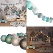 VitaliSpa 'Cotton Balls' Lichterkette Girlande grau/weiß/mintgrün/hellblau 310 cm