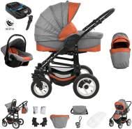 Bebebi Florenz   ISOFIX Basis & Autositz   4 in 1 Kinderwagen   Luftreifen   Farbe: Spirito Orange Black