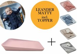 Leander Matty Wickelauflage + Topper Soft Pink Cool Grey