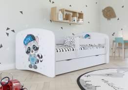 Kinderbett Jugendbett Weiß mit Rausfallschutz Schublade und Lattenrost Kinderbetten für Mädchen und Junge - Waschbär 70 x 140 cm