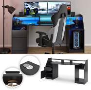 Vicco 'Joel' Computertisch, Schwarz, inkl. QI- und USB-Ladestation