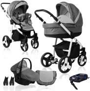 Bebebi Fizzy | ISOFIX Basis & Autositz | 4 in 1 Kombi Kinderwagen | Hartgummireifen | Farbe: Stone