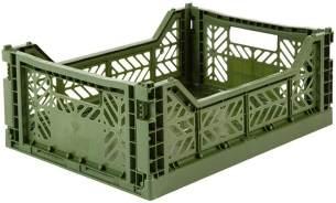 AY-KASA Khaki, Faltbare Aufbewahrungsbox mit 40x30x14,5 cm und 8 Liter Volumen - Bunte Klappbox zum Einkaufen und Aufbewahren - Stabile Faltbox aus Plastik - Organizer Box