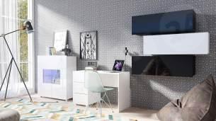 Mirjan24 'Calabrini XV' Jugendzimmer-Set, Schwarz + Schwarz Hochglanz / Weiß + Weiß Hochglanz