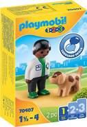 Playmobil 1.2.3 70407 'Tierarzt mit Hund', 2 Teile, ab 1,5 Jahren
