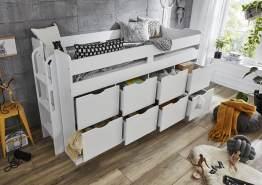 Relita Funktions-/Hochbett FLORI, LF 90 x 200 cm inkl. Lattenrost und 8 großen Schubladen, Weiß
