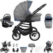 Bebebi Florenz | 3 in 1 Kombi Kinderwagen | Luftreifen | Farbe: Da Vinci Blue Black