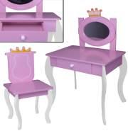 habeig Kinder SCHMINKTISCH #120 mit Stuhl rosa weiß Spiegel Schublade Krone