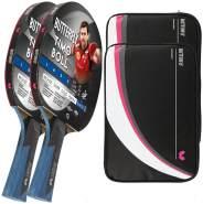 Butterfly 2x Timo Boll Black 85031 Tischtennisschläger + 2x Tischtennishülle Drive Case II