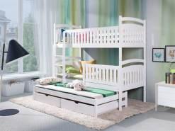 Fun Möbel 'Keiko XL' Etagenbett inkl. 3 Matratzen und 3 Rollroste, natur