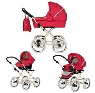 Friedrich Hugo - Natureline Uni - 4 in 1 Kombi Kinderwagen - ISOFIX Set - Farbe: Elisabeth Strawberry Creme